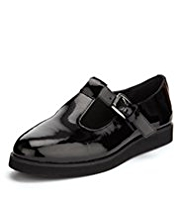 Eva Coated Leather T-Bar Patent School Shoes