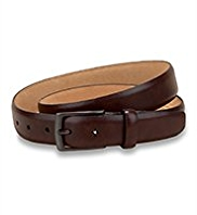 Leather Rectangular Buckle Burnished Belt