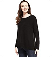 M&S Collection Pure Cashmere Side Zip Jumper