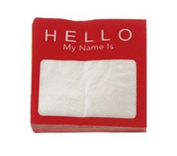 DCI Napkin Notes Cocktail Napkins, Name Tag, Pack of 20