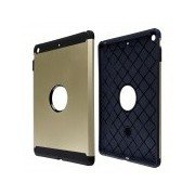 Fashion PC and Silicone Hybrid Patchwork Tough Armor Case with Air Cushion Tech for IPAD AIR Golden + Black
