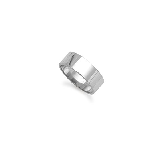 9ct White Gold 8mm Flat Wedding Band Ring