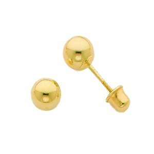 Solid 14k Yellow 4mm Childrens Ball Screw-Back Earrings - JewelryWeb