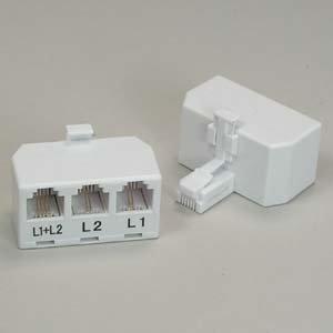 Installerparts RJ11 6P4C Line Splitter, Line1/Line2/Line1+Line2