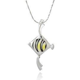 Franz Porcelain Angel fish Rhodium plated brass & porcelain necklace