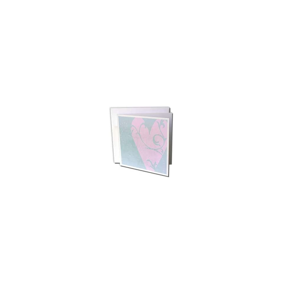 Patricia Sanders Flowers   Pink Floral Art Heart  Romantic  Love   Greeting Cards 6 Greeting Cards with envelopes