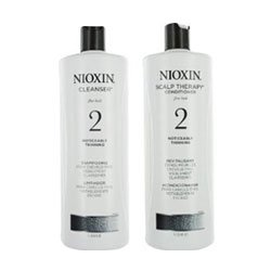 Nioxin System 2 Cleanser & Scalp Therapy for Fine Thinning Hair Duo 33.8 oz