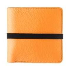 Marc By Marc Jacobs Pebble Leather Elastic Billfold Wallet Orange