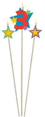 Amscan International Birthday Candles On Sticks 3 Stars Pack Of 3 by Amscan International