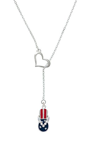 Usa Patriotic Flip Flop With White Dots Heart Lariat Necklace