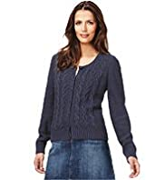 Indigo Collection Pure Cotton Cable Knit Flecked Cardigan