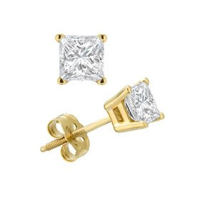 1/2ct Total Weight Princess Cut Cubic Zirconia Earrings