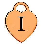 "Letter I Gold Heart Charm Laser Engraved Pendant For Bracelet, Necklace & Diy Jewelry (Size= 0.5"" Tall, 0.5"" Wide)"