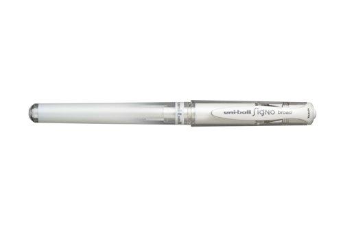 Uni-ball Signo UM-153 - Set de bolígrafos de punta redonda ancha (12 unidades), color blanco metálico