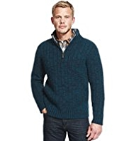 North Coast Zip Neck Knitted Jumper with Wool