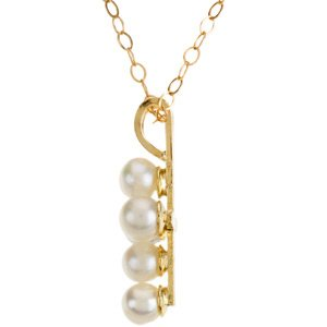 14k Yellow Gold Youth Pearl Necklace With 15 Chain 12.52x9.54mm - JewelryWeb