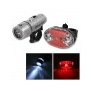 Bike Bicycle Handlebar 5-LED White Light Headlamp + 5-LED Rear Tail Warning Light Set - Grey + Red Grey + Red + MultiColored