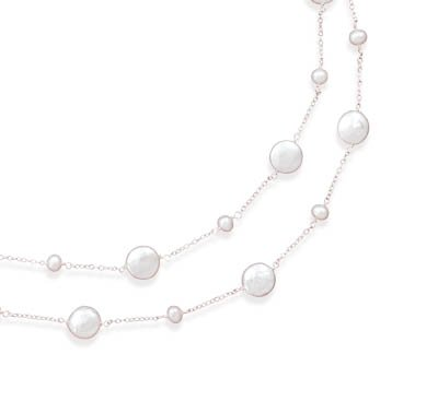 Sterling Silver 16 Inch+2 Inch Extention Double Strand Necklace Cultured Fw Round Coin Pearls