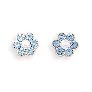 Light Blue Crystal and Pearl Sterling Silver Flower Post Stud Earrings