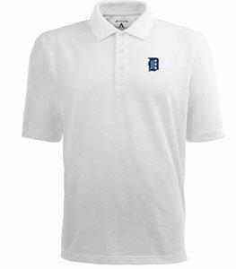 Detroit Tigers Classic Pique Xtra Lite Polo Shirt (White) - XXX-Large by Antigua
