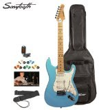 Sawtooth ST-ES-DBLP-KIT-2 Daphne Blue Electric Guitar with Pearl White Pickguard - Includes Accessories, Gig Bag and Online Lesson