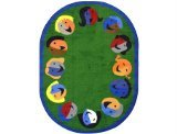 "Joy Carpets Kid Essentials Early Childhood Oval Joyful Faces Rug, Green, 7'8"" x 10'9"""