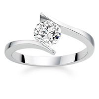 0.59 Carat E/SI1 Round Brilliant Certified Diamond Solitaire Engagement Ring in 18K White Gold