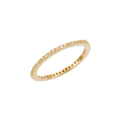 18K Gold Plated Clear Cubic Zirconia 2 mm Eternity Wedding Band Ring - Size 10