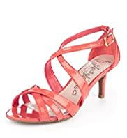 Wide Fit Stiletto Mid Heel Crossover Strap Sandals