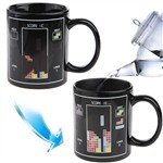 Heat Sensitive Color Changing Porcelain Cup Coffee Mug with Handle - Tetris Pattern