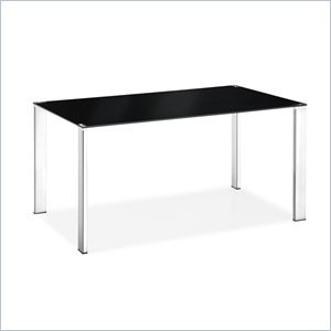 Cheap ZUO Zuo Slim Rectangular Casual Dining Table with Glass Top-Black (B008D4PIXE)