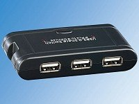 c-enter USB-Switch für 3 USB-Geräte an 2 PCs