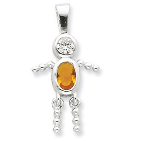 Sterling Silver CZ and November Glass Boy Pendant - JewelryWeb