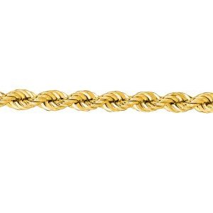 14K Solid Yellow Gold Solid Rope Chain Necklace 3mm thick 24 Inches