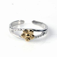 Sterling Silver Two Tone Fashion Toe Ring - Flower - 4.5mm Band Width