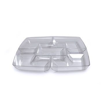 Maryland Plastics Clear Square Plastic Compartment Serving Tray 12-Inch front-91016