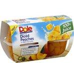 Dole Diced Peaches in 100% Fruit Juice 4-4oz cups