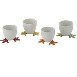 Set of 4 Yellow Egg Cups with Feet
