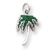 Sterling Silver Green Enameled Palm Tree Charm - JewelryWeb