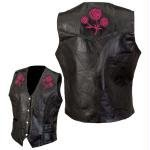 Diamond PlateTM Rock Design Ladies Genuine Leather Vest - Large