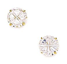14k Yellow Gold 6mm Round Segmented CZ Screwback Earrings - JewelryWeb