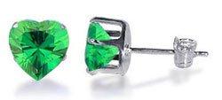 TDEZ2180-E Nickel Free Sterling Silver 4mm Heart Emerald Cubic Zirconia Post Back Stud Earrings