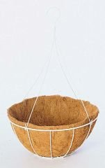 "Gardman R415 14"" Wire Grow Basket with Coco Liner and 4 Leg Wire Hanger - White"