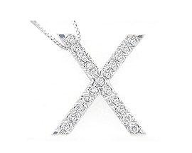 Alphabet X Diamond Initial Pendant in 14k White Gold