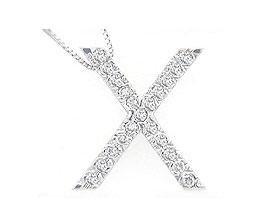 Alphabet X Diamond Initial Pendant in 14k White Gold