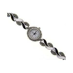 sterling silver marcasite genuine black onyx and mother of pearl watch