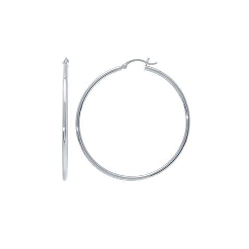 14k White Gold Hoop Earrings (2 1/2  x 2 mm