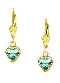 14ct Yellow Gold 6 mm Heart Aquamarine-Blue CZ Drop Earrings