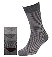 4 Pairs of Autograph Neutral Striped Socks with Modal