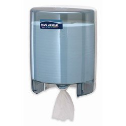 "San Jamar T400 Centerpull Towel Dispenser, Fits 9-1/2"" Wide and 9"" Diameter Roll, 9-1/8"" Width x 11-5/8"" Height x 9-1/2"" Depth, Arctic Blue"